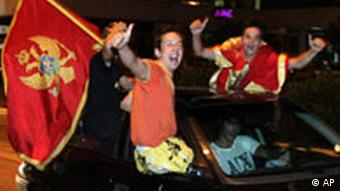 Young people in cars celebrate Montenegrin independence