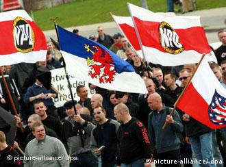 The far-right NPD -- shown here at a march in May --made significant gains in Sunday's election.