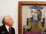 """文化部长从收藏家海因茨-贝格格吕恩(Berggruen,图左)手中底价买的毕加索作品""""黄毛衣"""""""