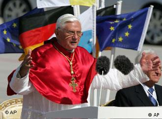 Pope Benedict XVI during a bittersweet departure from Munich before heading to Rome