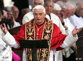 Pope Benedict XVI speaking with arms open