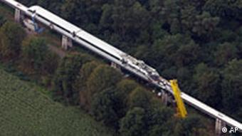 Aerial view of transrapid train after the collision with maintenance vehicle