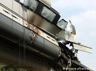 The rubble of a Transrapid car after the accident in 2006