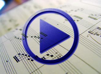 Sheet music and a play symbol