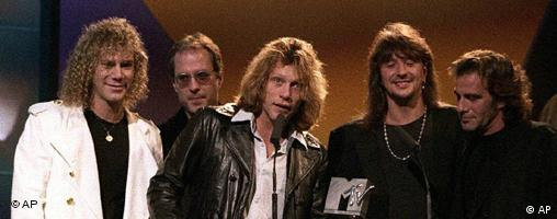 Rock band Bon Jovi accept an MTV award