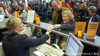 Passengers at Leipzig Airport