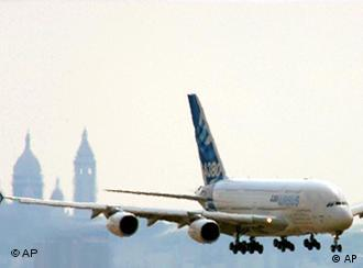 A380 superjumbo jet flies near Le Bourget, north of Paris