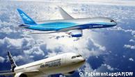 Ilustración de computadora de los dos nuevos jets de pasajeros.