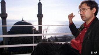 Orhan Pamuk overlooking a mosque in Istanbul