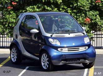 A blue and grey Smart fortwo
