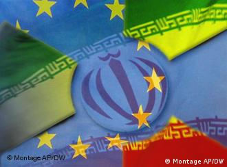 a montage of the EU and Iranian flags with an atomic symbol