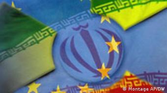 Iran and EU flags
