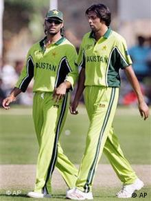 Pakistan cricketers Akhtar and Asif