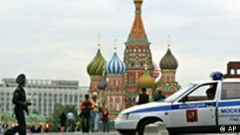 Police car on Red Square in Moscow