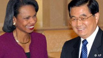 China USA Condoleezza Rice bei Hu Jintao in Peking