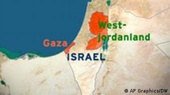 Karte Israel Gaza und Westjordanland