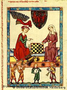 Miniatur zweier Schachspieler aus dem Mittelalter