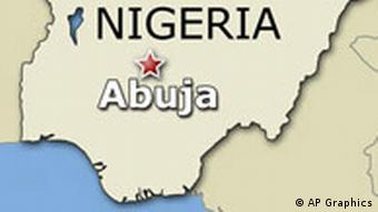 NIGERIA map highlighted with capital city of ABUJA locator, finished graphic
