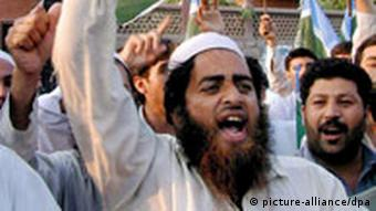 Supporters of Pakistani religious political party Jamat-e-Islami during a protest in Peshawar