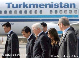 Steinmeier arriving in the capital Ashgabat