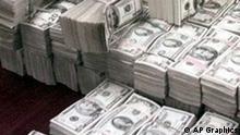Bundles of US money, photo Bündel von US Dollarnoten Symbolbild