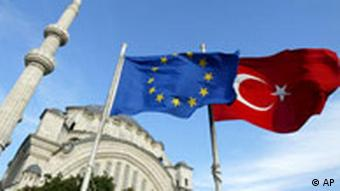 EU and Turkish flags in front of Mosque