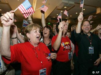 Democratic Party supporters were in a jubilant mood
