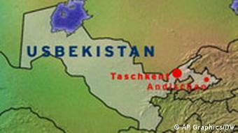 Karte von Usbekistan (Grafik:ap/DW)