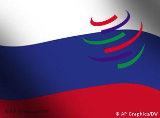 Russian flag with the WTO logo