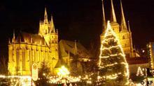 Beleuchteter Weihnachtsmarkt in Erfurt