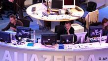 Al Dschasira in Katar Redaktion in Doha Sendung auf Englisch