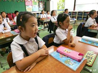 Japanese girls in the classrooom (AP Photo/Katsumi Kasahara)