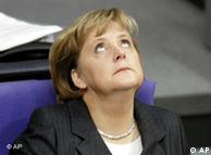 Angela Merkel looks to the heavens during a Bundestag debate
