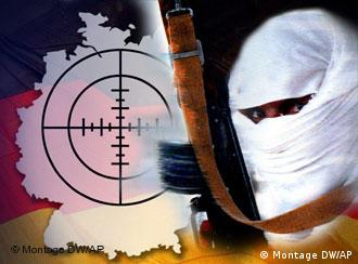 Graphic showing masked man holding gun standing in front of a German flag and map with crosshairs on it