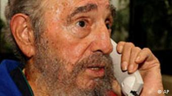 Fidel Castro speaks on the telephone, Oct. 28, 2006