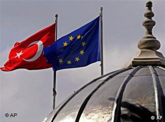 The Turkish and EU flags fly over the skyline of Istanbul