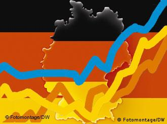 Graph showing rising growth against a background of the German flag