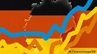 Montage with a map of German, the colors of the German flag and market lines moving up