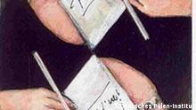 das ist ein Plakat zu dem Pris und wurde uns von dem Deutschen Polnischen Institut zugeschickt Uebertragung der Rechte dieses Bildes an DW-Online Sehr geehrte Damen und Herren, in der Anlage übersende ich Ihnen die aktuelle Pressemitteilung zur morgigen Auslobung des Karl-Dedecius-Übersetzerpreises auf der Frankfurter Buchmesse (Übersetzer-Zentrum Halle 5.0 E955 um 12 Uhr) mit der Bitte, die Auslobung und die Teilnahmebedingungen in Ihrer Berichterstattung zu berücksichtigen. Vielen Dank! Das Plakat stammt von Miroslaw Gorowski. Mit besten Grüßen Dr. Andrzej Kaluza -- Dr. Andrzej Kaluza Presse- und Öffentlichkeitsarbeit Deutsches Polen-Institut Mathildenhöhweg 2 D-64287 Darmstadt Tel.: 0049-(0)6151-498513 Fax: 0049-(0)6151-498510 www.deutsches-polen-institut.de