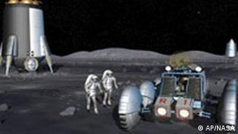 This artist's rendering of a crew preparing to leave a work site on the lunar surface