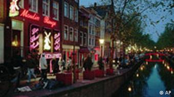 A view of Amsterdam's red light district