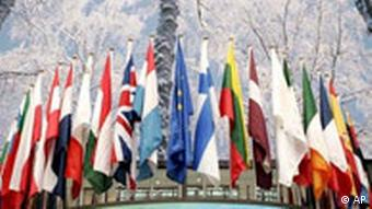 The flags of the 27 member states decorate a summit in Brussels