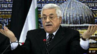 Abbas making a helpless gesture
