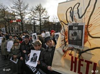 Demonstration für Pressefreiheit in Moskau, Quelle: AP