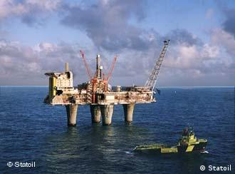 An oil drilling platform off the coast of Norway