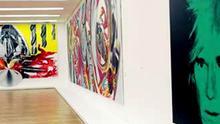 The Guggenheim Collection Eine künstliche Barriere aus blauem, rotem und blauem fluoreszierendem Licht des Künstlers Dan Flavin steht am Donnerstag, 20. Juli 2006, in der Bundeskunsthalle in Bonn Das Selbstbildnis von Andy Warhol, rechts, haengt am Donnerstag, 20. Juli 2006, in der Bundeskunsthalle in Bonn. Dort sind in der Ausstellung The Guggenheim Collection bis zum 7. Jan. 2007 rund 200 Meisterwerke der Guggenheim Foundation aus New York, Venedig, Berlin und Bilbao zu sehen. (AP Photo/Hermann J. Knippertz) --- Andy Warhol's Self-Portrait (1986), right, is seen in the exhibition The Guggenheim Collection in the Federal Art and Exhibition Hall in Bonn, Germany, Thursday, July 20, 2006. 200 top-objects of the Guggenheim museums are displayed there until Jan. 7, 2007. (AP Photo/Hermann J. Knippertz)
