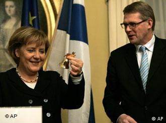 Finnish Prime Minister Matti Vanhanen is about to give up his place in the EU big chair to Germany's Angela Merkel