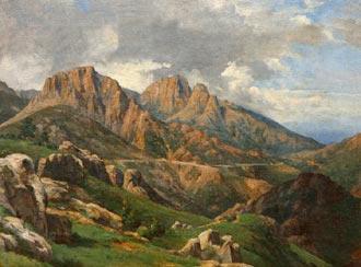 'Paisagem montanhosa brasileira': quadro de Johann Georg Grimm