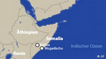 Karte von Somalia mit dem Horn von Afrika und der arabischen Halbinsel (Grafik: AP)