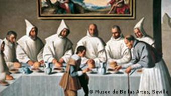 Das Bild: Saint Hugh in the Refectory von Francisco de Zurbarán, Foto: Museo de Bellas Artes, Sevilla